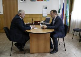 Губернатор Курганской области Вадим Шумков с главой Макушинского района Виктором Воротынцевым