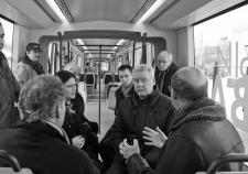 Мэр Москвы Сергей Собянин осматривает трамвай нового поколения