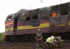 В Сосновском районе загорелся локомотив грузового поезда